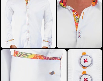 Autumn Inspired Men's Designer Dress Shirt - Made To Order in USA