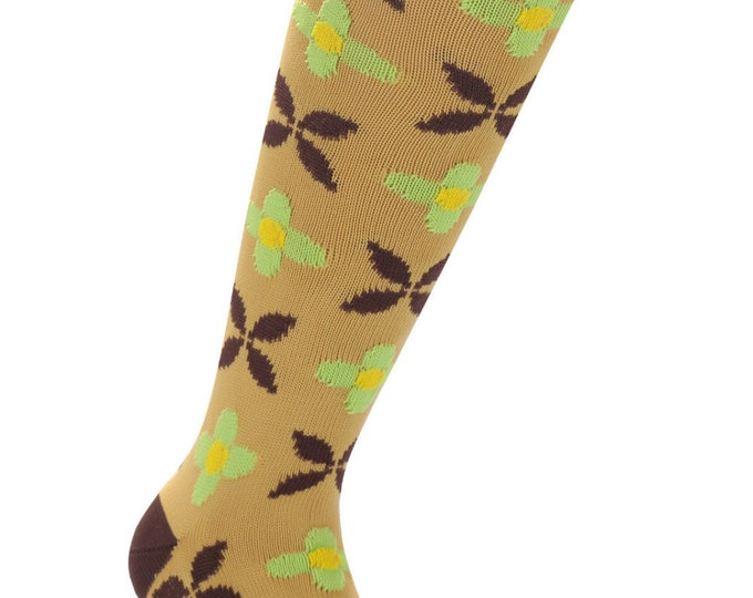 Samson® Retro Brown Flowers Funky Socks Sport Knee High Sport Football Rugby Soccer