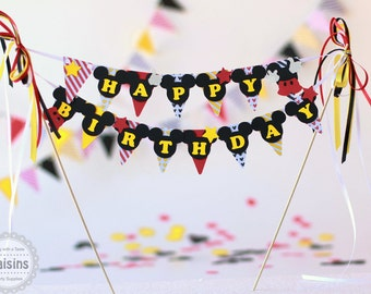 Mickey Mouse birthday party decorations  Mickey Mouse cake banner Mickey Mouse cake topper Mickey cake smash Disney Mickey birthday banner
