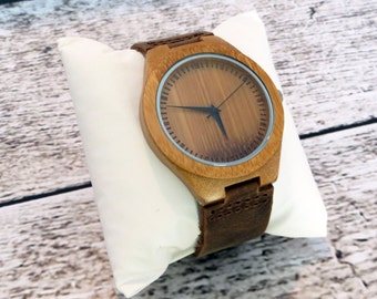Wood Wrist Watch -Personalized- Groomsmen gift -Accessories for Men Fathers Day Gift -Best Man - Gifts for Men - FREE ENGRAVING! (MW1)