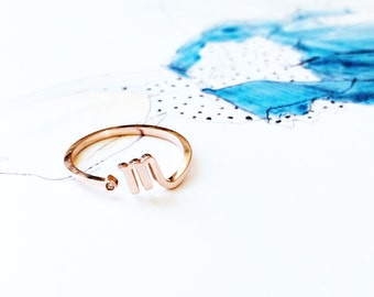 Horoscope Scorpio Ring Band 18K Rose Gold Ring Adjustable Ring Stack Ring Multifinger Ring Birthday Ring