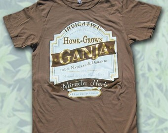 Home-Grown Ganja Vintage Label Gold Shimmer Screenprint Tee (Brown)