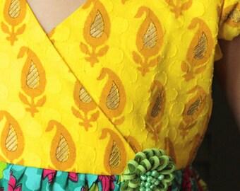 Girls summer dress, yellow-green, printed