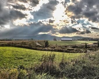 Landscape Photography - Vermont Sunset, Farms, Fields, Canvas Photography