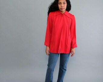 red 1940s swing coat . 40s 50s car coat . rayon gabardine jacket coat . topper jacket shortie coat