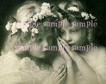 Instant PRINTABLE digital Download - ANGELS - Little Girl Vintage Victorian Christmas Angels - no1036