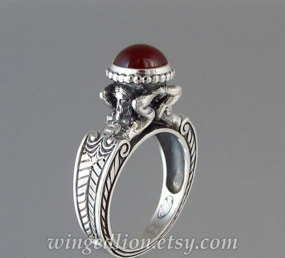 size 8.25 ready to ship CARYATID Silver Ring with Garnet