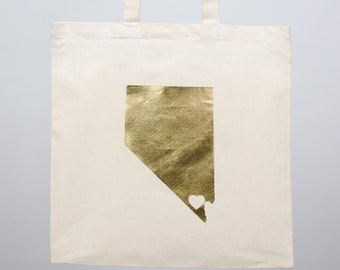 GOLD FOIL State Love Totes (large order) -  custom USA state silhouette with heart over your city on natural bag