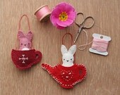 Felt Ornament Pattern - Friends for Tea Bunnies - Sewing and Embroidery Pattern - Home Ornament Pattern, Felt Ornament