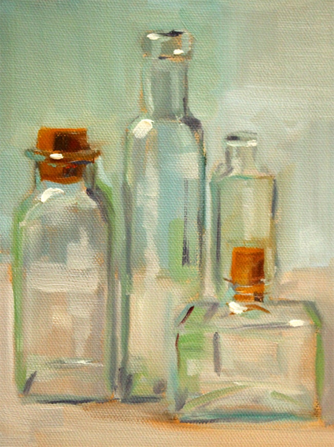 Still life oil painting bottle collection glass green for How to paint glass with oil paint