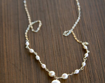 Glowing Aqua Chalcedony Centerpiece Necklace with White Pearls Wire Wrapped on a Silver Chain
