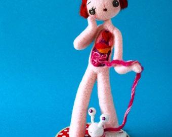 Print: Anatomical Female B with Slug  - doll anatomy specimen blue needle felted felt art plush toy photograph digital