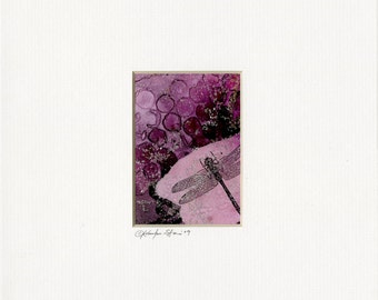 Dragonfly No. 62  - Original Collage Watercolor Painting in 8x10 mat by Kathy Morton Stanion EBSQ