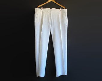 White Linen Pants, 3x Plus Size Long Wide Legs, Women Trousers, 90s Clothes, Vintage Clothing, Summer, Vintage Pants, Womens Wear