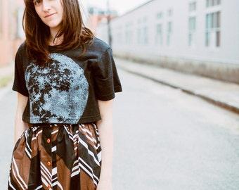 Full Moon crop top for women - cropped tshirt - moon screenprint on tri-blend black - astronomy shirt by Blackbird Tees