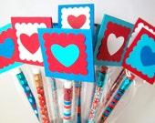 Kids Valentine Pencils, Personalized School Pencil Valentines, Valentines for Boys, Classroom Valentine Treats, Class Valentine Party Favors