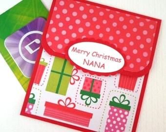 Christmas Gift Card Holder for Nana, Grandmother Christmas Gift, Stocking Stuffer, Personalized Nana Card, Holiday Money Card