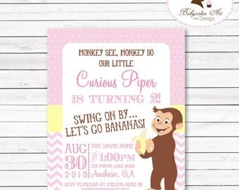 Curious George Birthday Invitation, Curious George Girl Birthday Party, Curious George1st Birthday, Curious George Printable invitation