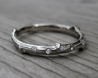 Diamond Twig Wedding Band: 7 Diamonds; White, Yellow, or Rose Gold, Canadian Diamonds