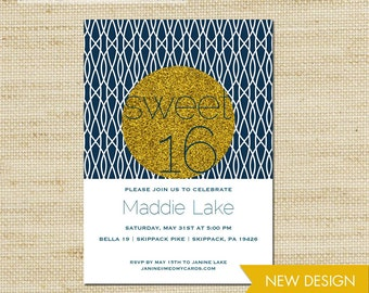 Sweet 16 Invitation, Gold Glitter Birthday Invites, Sweet Sixteen Birthday, Printed Eco Cards or DIY Printable, FREE SHIPPING