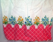 Vintage pink blue yellow flower pots Feed Sack Pillowcase Pillow case