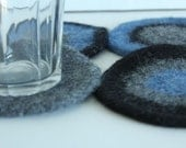 Coasters - Hand-knit Felted Wool - Blue, Black, Gray