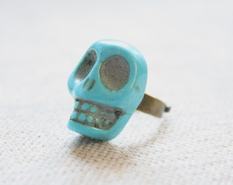 Turquoise Boho Skull Statement Ring