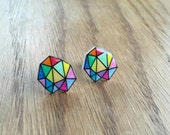 Hand Drawn Color Geometric Earrings