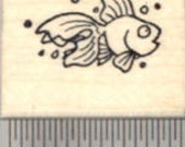 Tiny Goldfish Rubber Stamp, Fish A21912 Wood Mounted