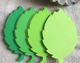 """Paper Leaves...48 pcs. Very Pretty 4 1/4"""" Feathered Greens Paper Leaves Die Cuts Scrapbook Embellishments"""
