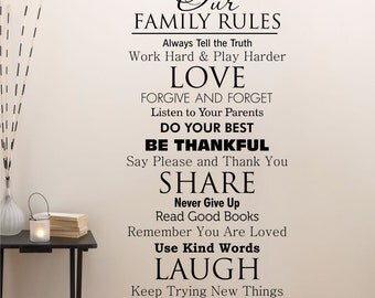 Classic Family House Rules Vinyl Wall Quotes Decal