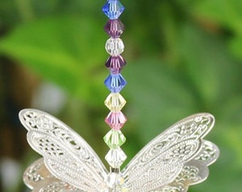 Rainbow Filigee Butterfly Suncatcher, 20mm Asfour Crystal Tear Drop, Silver Wings, Home Decor, Hanging Decoration, Birthday Gift 27BUT04