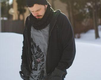 Mini Chunky Cowl in Heathered Charcoal // Mens Grey Knit Scarf Cowl // Unisex Mini Cowl Neckwarmer