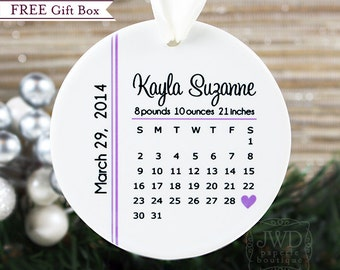 Babys First Christmas Ornament My First Christmas Ornament Birth Calendar Personalized Baby Keepsake New Baby Gift - Item# BDC-O