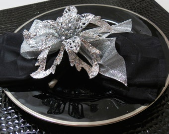 Silver Christmas Poinsettia Napkin Ring Holiday Table Decoration