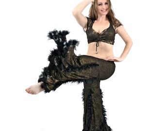 Gold Metallic Black Lace Swan Pants - belly dance, tribal fusion, bellydance, latin dance