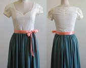 Cotton Lace Sweetheart Dress with Rayon Skirt, Capped Sleeves and Ribbon Sash