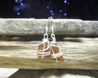 Lake Michigan beach glass earrings - unique eco friendly sea glass jewelry - gift under 15 dollars - 40th birthday gifts for women