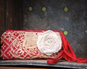 Ruby Tuesday Keepsake Mini Clutch - Scarlet Red vintage lace leather fringe bohemian gypsy rustic wedding bridal bride zipper pouch