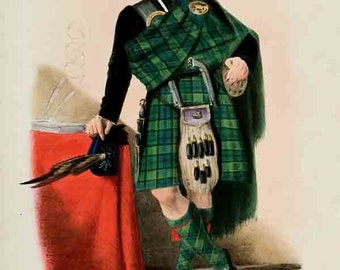 Clan Campbell of Breadalbane - Scottish Highlander ~ Traditional Tartan and Arms ~ ca 1845 Giclee print - Clan Campbell Poster
