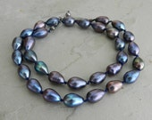 Peacock Blue Knotted Cord Pearl Necklace~Layering Necklace