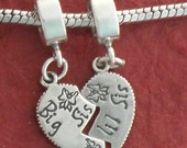 Sterling Silver Little Big Sister Charms SOLID 925 Break share Sis