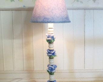 Dollhouse Miniature Shabby Chic Blue Tulips Ceramic Floor Lamp