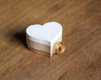 White Wedding Ring Bearer Box - Pillow Alternative Handmade DIY rustic