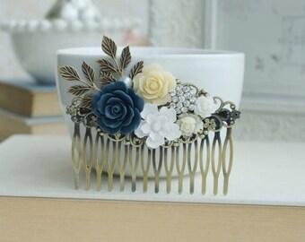 Blue, White, Ivory Wedding Large Comb. Navy Rose, Diamente, White Brass Leaf Hair Comb. Bridesmaid Gift. Blue Rustic Wedding. Something Blue