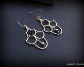 Gold Chandelier Earrings - Modern Gold Earrings - Gold Amethyst Crystal Earrings - February Birthstone Earrings - Special Occasion Earrings