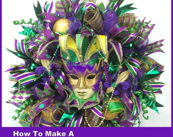 How To Make a Deco Mesh Mardi Gras WREATH Full Length Downloadable Video