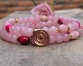 Pink beaded stretch bracelet pink wrap bracelet rustic wedding jewelry bridesmaid jewelry ideas handmade jewelry gifts for her birthday gift