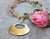 Dainty natural gemstone necklace bronze open circle pendant natural gemstone jewelry fashion jewelry handmade metalwork gifts for her