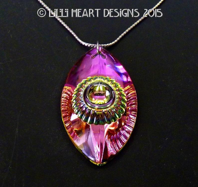 eye of shiva fine crystal vitrail medium peacock colors